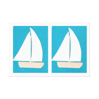 Canvas with Sailboats on a Turquoise Background
