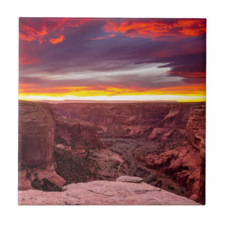 Canyon de Chelly, sunset, Arizona Ceramic Tile