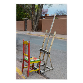 Canyon Road Artist Chair, Santa Fe Poster