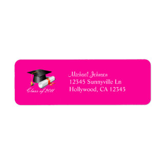 Cap and Diploma Class of 2011 (hot pink) Return Address Label