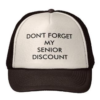 CAP, BROWN, SENIOR DISCOUNT MESH HAT