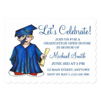Cap Gown Graduation Party Open House Invitations