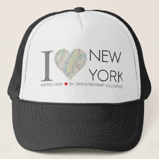 Cap of I love New York with map of OpenStreetMap