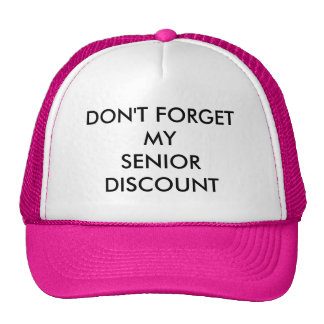 CAP, PINK, SENIOR DISCOUNT CAP