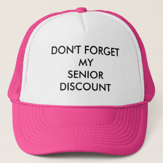 CAP, PINK, SENIOR DISCOUNT TRUCKER HAT
