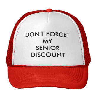 CAP, RED, SENIOR DISCOUNT CAP