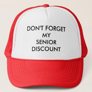 CAP, RED, SENIOR DISCOUNT TRUCKER HAT