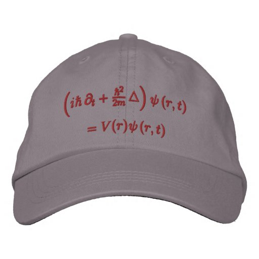 Cap, Schrodinger wave equation, red thread Embroidered Baseball Cap