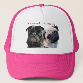 cap walking with mine pug