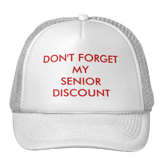 CAP, WHITE, SENIOR DISCOUNT CAP
