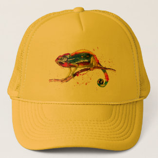 Cap with handpainted chameleon