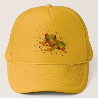 Cap with handpainted frog