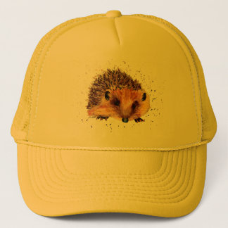 Cap with handpainted hedgehog
