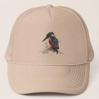 Cap with handpainted kingfisher
