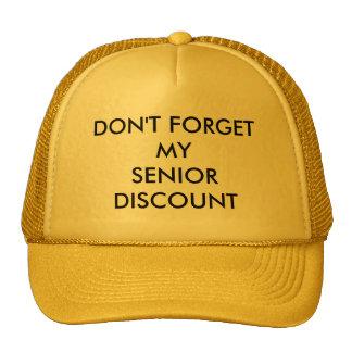 CAP, YELLOW, SENIOR DISCOUNT MESH HATS