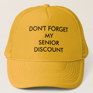 CAP, YELLOW, SENIOR DISCOUNT TRUCKER HAT
