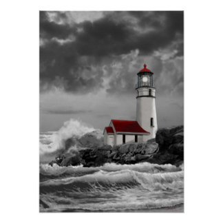 Cape Blanco lighthouse in black and white Poster