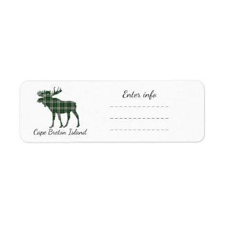 Cape Breton Island moose address label