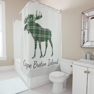 Cape Breton Island moose tartan shower curtain