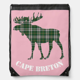 Cape Breton moose Tartan Travel drawstring Bag