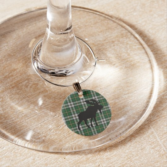 Cape Breton Tartan Christmas Wine Charms moose