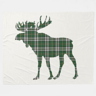 Cape Breton Tartan Custom Moose green Plaid Fleece Blanket