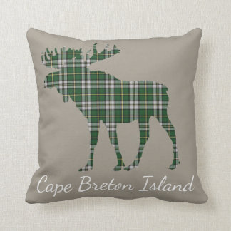 Cape Breton Tartan Custom Moose taupe pillow