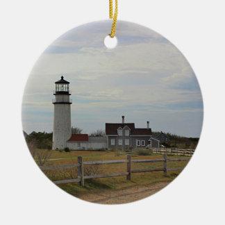 Cape Cod Light Round Ceramic Decoration