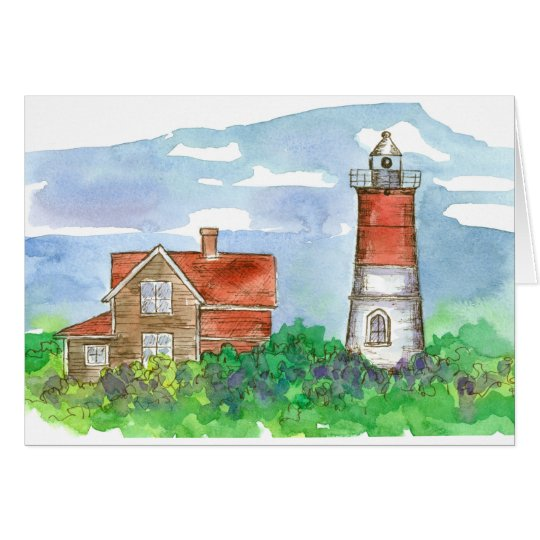 Cape Cod Lighthouse Sketch Blank Card