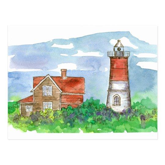 Cape Cod Lighthouse Sketch Postcard