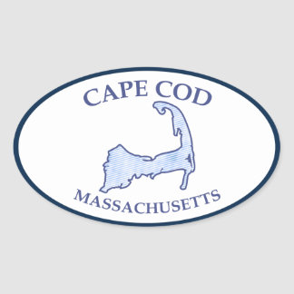 Cape Cod Map Preppy Blue Stripe Oval Sticker