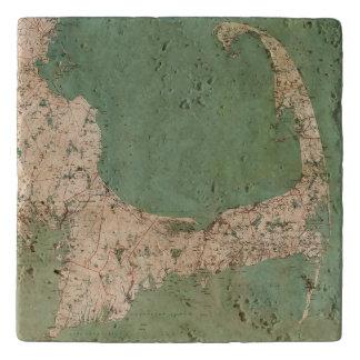 "Cape Cod Map Stone Trivet 6"" x 6"""