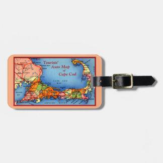 Cape Cod Massachusetts Tourists Auto Map Luggage Tag