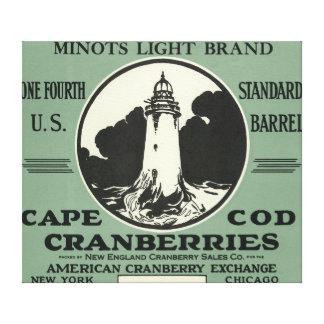 Cape Cod Minots Light Brand Cranberry Label Gallery Wrapped Canvas