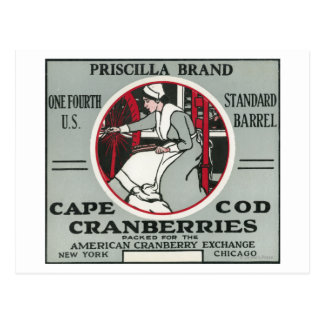 Cape Cod Priscilla Brand Cranberry Label Postcard