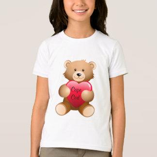 Cape Cod Teddy Bear Heart Girls Ringer Tee Shirt
