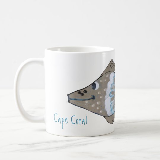 Cape Coral Florida Whimsical Fish Artwork Coffee Mug