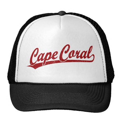 Cape Coral script logo in red Mesh Hat
