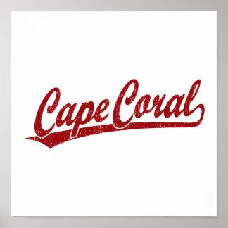Cape Coral script logo in red Poster