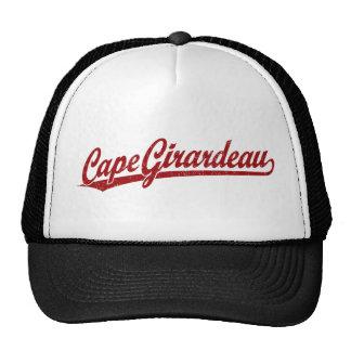 Cape Girardeau script logo in red Hats