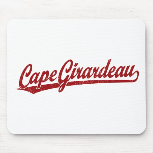 Cape Girardeau script logo in red Mouse Pads