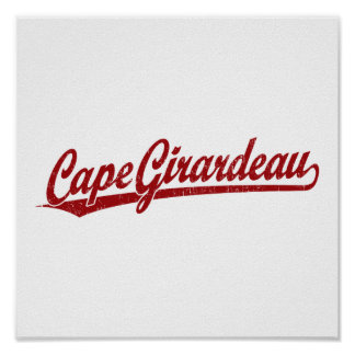 Cape Girardeau script logo in red Posters