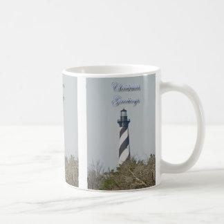 Cape Hatteras Lighthouse Christmas Greetings Mug