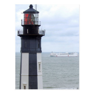 Cape Henry Lighthouse with a Ship Postcard