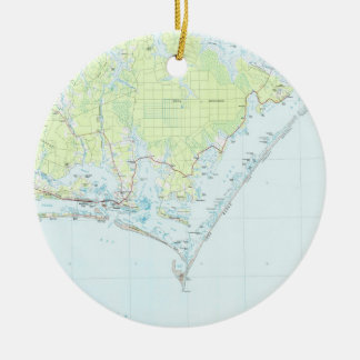 Cape Lookout National Seashore & Morehead City Map Ceramic Ornament