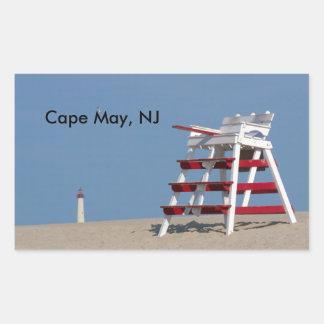 Cape May lifeguard chair Rectangular Sticker