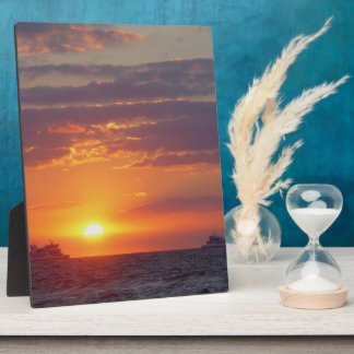 Cape May Sunset Two Ships Passing Easel Plaque