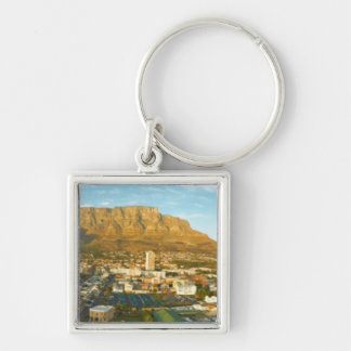 Cape Town Cityscape With Table Mountain Silver-Colored Square Key Ring