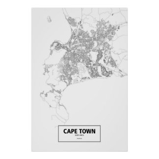 Cape Town, South Africa (black on white) Poster
