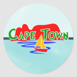 Cape Town South Africa Blue Round Stickers